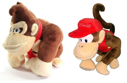 Little Buddy Mario Plush Doll Set of 2 - Donkey Kong & Diddy Kong