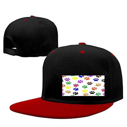 Unisex Color Footprints Hat Adjustable Contrast Hip Hop Baseball Cap Red