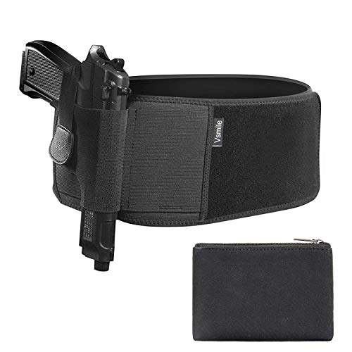 (Vsmile Belly Holster Concealed Carry Belly Band Gun Holsters with Removable Purse, IWB Neoprene Waist Band for Women and Men Carry Holster, Pink and Black with Magnet Lock)