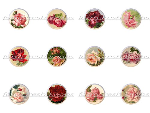 SET OF 12 KNOBS - Set #1 (001-012) - Shabby Chic Vintage Roses by ETS - DECORATIVE Glossy CERAMIC Cupboard Cabinet PULLS Dresser Drawer KNOBS