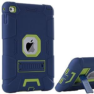 iPad Mini 4 Case,iPad Mini 4 Retina Case,BENTOBEN 3 IN 1 Hybrid [Soft&Hard] Heavy Duty Rugged Stand Cover Shockproof Anti-slip Anti-Scratch Full-body Protective Cases for iPad Mini 4,Navy Blue/Green