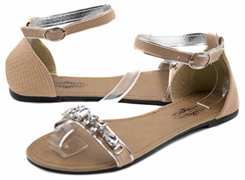 ... Charles Albert Kvinners Chic Perle Pyntet Sandal Med Adjutable Ankel  Strap Beige