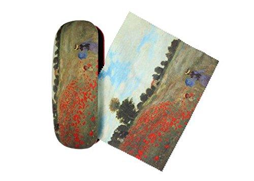 Set Brillenetui und Brillenputztuch Claude Monet - Mohnblumen Mohnfeld von Artis Vivendi