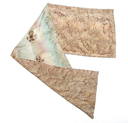 Hand Painted Silk Scarf Earh Tones Asparagus Sage Browns, One of a Kind, Small Petite Reversible Scarf, Handmade Signed Original by Artist -