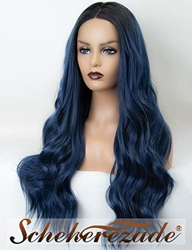 Ombre Deep Navy Blue Lace Front Wig with Black Roots Scheherezade Natural Wavy Lace Wigs 2 Tone Long Synthetic Dark Blue Wig for Women 22 Inches Glueless Heat Resistant ()