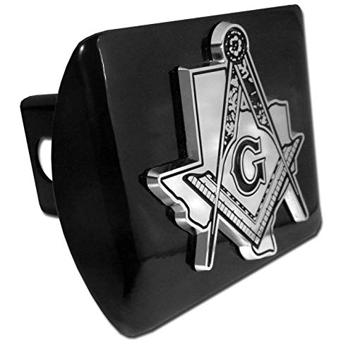 Elektroplate Masonic Square and Compasses Texas Black All Metal Hitch Cover