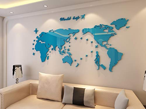 Plastic The World Trip Map Wall Stickers/Wall decals/Wall tattoos/Wall transfers (31(H) x 58(W) inches, Blue)