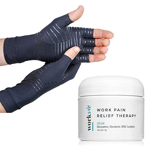 Workvie Pain Relief Cream and Copper Compression Gloves Set - Arthritis, Carpal Tunnel, Hand Pain (Small)
