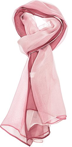 Hand By Hand Aprileo Two-Tone Silk Blend Scarf Ombre Oblong Scarf Lightweight [01 Plum](One Size)