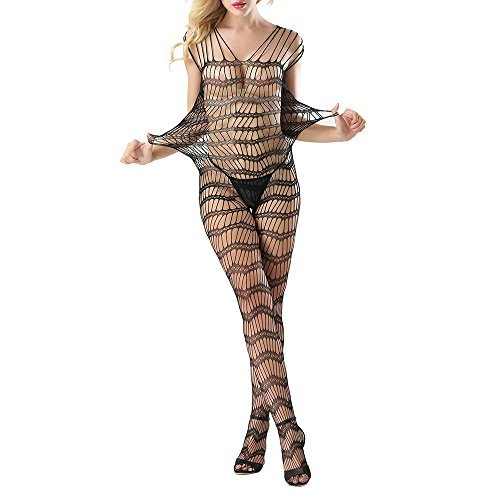 Sexy Lingerie for Women for Sex Hollow Out Striped Strap Fishnet Crotchless Bodystocking Leotard Open Crotch Stretch Tights Nightwear Teddy Mesh Sheer Babydoll Bodysuit Clearance (Black, Free Size) (Catsuit Stretch Lace)