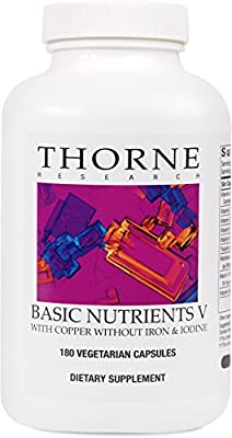 Thorne Research - Basic Nutrients V - Complete Multiple Vitamin-Mineral Supplement with Copper and Without Iron or Iodine - 180 Capsules
