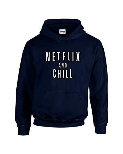 H&D Shirt Shoppers Hoodies For Women Netflix and Chill Funny Pullover Hooded Sweatshirt(Navy,Small) -