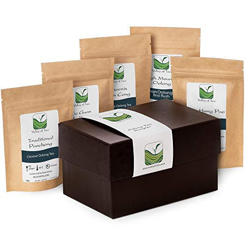 Oolong Tea Gift Box Tealover - Specialty Loose-Leaf tea for tea lovers - Gourmet Oolong Tea sampler - Gift Basket Wu long Tea Present Luxury Basket - All samples have 30g beside Pouchong 20g