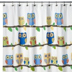 Elegant What A Hoot OWL Fabric Shower Curtain Yellow Blue Green Sequin Eyes Felt  Leaves