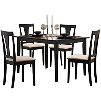 This Item Coaster 5pc Casual Dining Table And Chairs Set In Black Finish