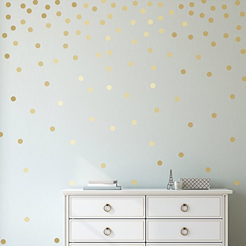 Easy Peel + Stick Gold Wall Decal Dots - 1 Inch (300 Decals) - Safe on Walls & Paint - Metallic Vinyl Polka Dot Decor - Round Circle Art Glitter Stickers - Large Paper Sheet Baby Nursery Room Set