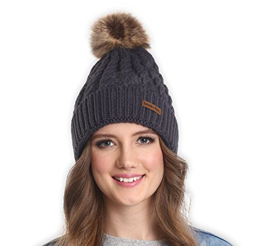 Brook + Bay Women's Faux Fur Pom Pom Beanie - Thick, Soft & Warm Cable Knit Beanie Hats for Winter - Serious Beanies for Serious Style (with 7+ Colors)