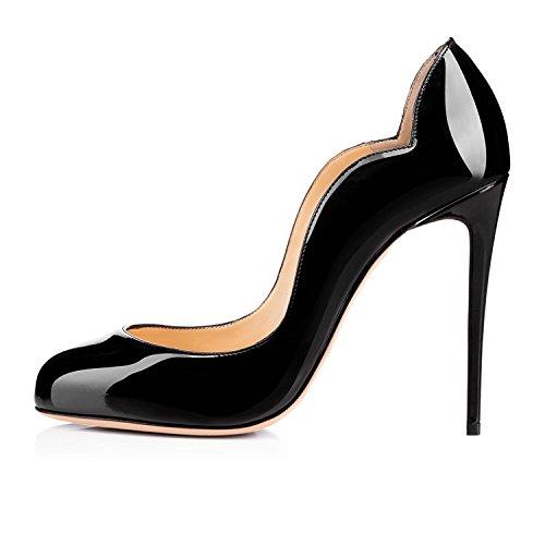 Hoch Damen Absatz Pumps High Schwarz EDEFS Heels Runde Elegant Schuhe Zehe Geschlossen A80wzqd