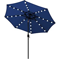 Garden and Outdoor Blissun 9 ft Solar Umbrella 32 LED Lighted Patio Umbrella Table Market Umbrella with Tilt and Crank Outdoor Umbrella for… patio umbrellas