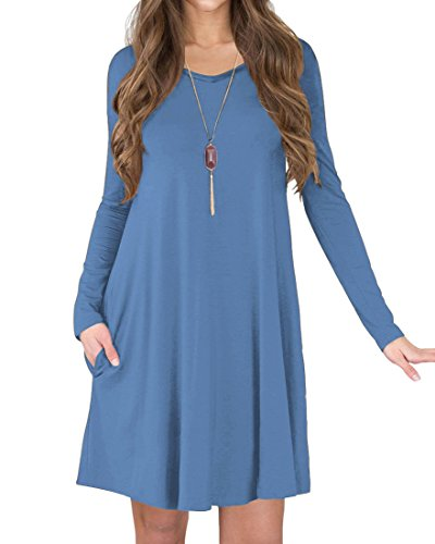 TINYHI Women's Long Sleeve V-Neck Side Pockets Casual Swing T-Shirt Dress(Gray Blue,M)