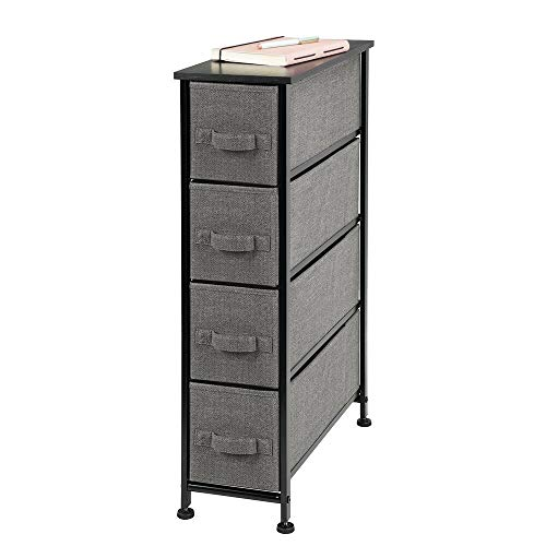 mDesign Narrow Vertical Dresser Storage Tower - Sturdy Metal Frame, Wood Top, Easy Pull Fabric Bins - Organizer Unit for Bedroom, Hallway, Entryway, Closet - Textured Print, 4 Drawers - Charcoal Gray (Chest Lingerie Of Drawers)