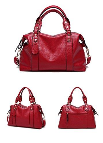 Sunwel Fashion Women's Faux Leather Medium Boston Bags Shoulder Strap Crossbody Handbag Tote 13