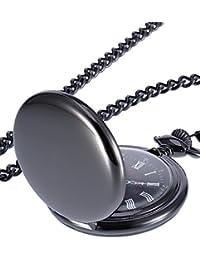Smooth Antique Quartz Pocket Watch with Steel Chain (Black)
