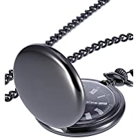 Mudder Smooth Antique Quartz Pocket Watch with Steel Chain (Black)