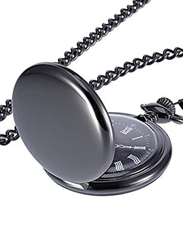 Mudder Smooth Antique Quartz Pocket Watch with Steel Chain (Black) (Men Antique Watch)