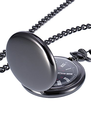 Mudder Smooth Antique Quartz Pocket Watch with Steel Chain - Watch Pocket Crown