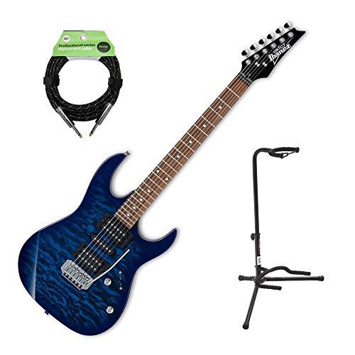 Ibanez GRX70QA GIO Electric Guitar with Knox Guitar Cable and Guitar Stand (Ibanez Stand)