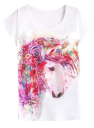 futurino Women's Cute Unicorn Horse Print Tee Summer Short Sleeve Casual Tee T-Shirt Tops