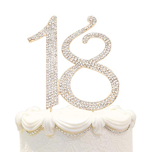Monogram Jewelry Cake (Hatcher lee Bling Crystal Happy 18 Birthday Cake Topper - Best Keepsake | 18th Party Decorations Gold)