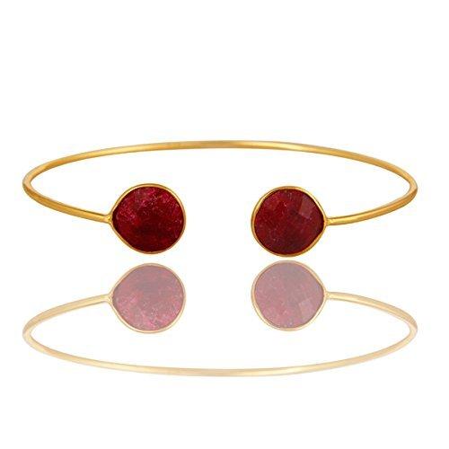 Ruby Gemstone Bezel Set Sterling Silver Open Cuff Bracelet (Bezel Set Gemstone Bracelet)