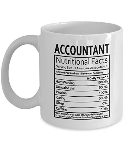 Funny Accountant Gifts Accountant Nutritional Facts Label Accountant Gag Gifts - Gifts Coffee Mug Tea Cup White 11 Oz - Funny Gifts for (Accountant Coffee Mug)