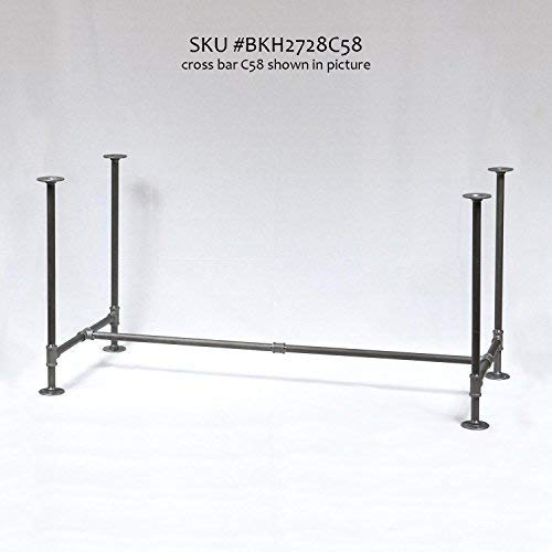 """H28"""", Rusty Design, BKH2728C58 Pipe Legs KIT with Cross Bar for Dining Table, H shape, L58"""" x W27"""" x H28"""", Pack suitable for 1 Table"""