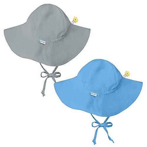 iplay 2 Pk UPF 50+ Sun Protection Brim Toddler Swim Sun Hats-2T-4T-Grey-Lt. Blue