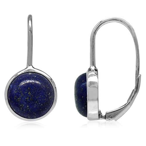 10MM Genuine Blue Lapis White Gold Plated 925 Sterling Silver Leverback Earrings