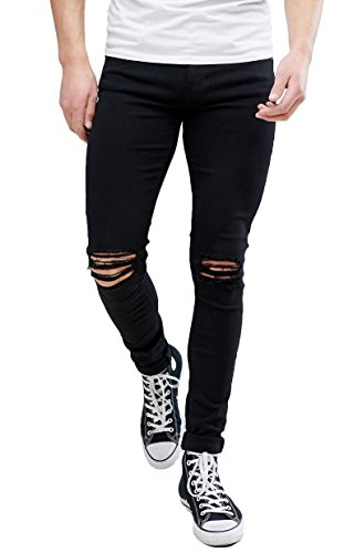 MEIKESEN Men's Black Slim Fit Cotton Stretch Destroyed Ripped Skinny Denim Jeans with Holes ()