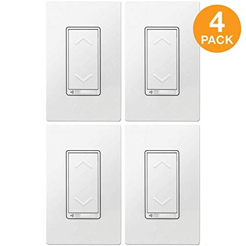TOPGREENER Smart Wi-Fi Dimmer Switch, Neutral Wire Required, No Hub Required, Single Pole, Work with Alexa and Google Assistant, UL listed, TGWF500D 4 Pack ()