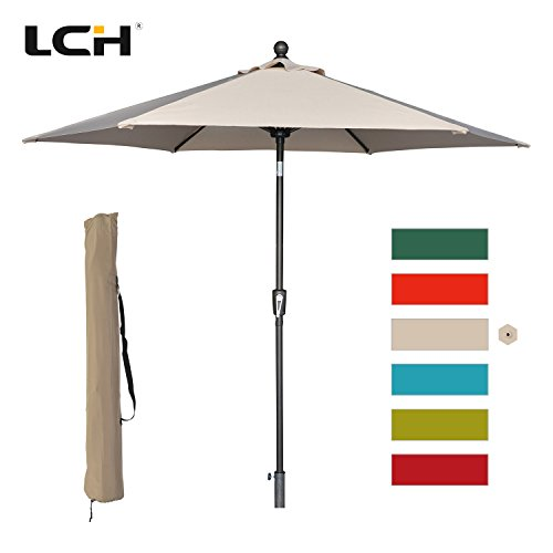 Base 9 Market Umbrella (LCH 9 ft Outdoor Umbrella Patio Table Umbrella Yard Sturdy Pole Push Button Easily Tilt & Crank (LightBeige/Tan))