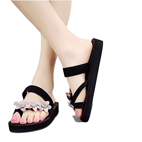 Thick Sandals Pink Fashion Summer T Womens Flower Ladies Thong Sandals Bottom Bohemia Wedge JULY Slippers x1zO46qwg1