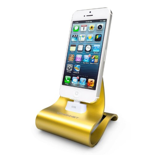 Konnet Technology KN-8273 iCrado Plus - Metal / Metallic Charging / Charger Dock / Cradle / Stand / Kit with Charge and Sync Cable for iPhone 4S, 4, 3Gs, 3G and iPod Touch, Nano - 1 Pack - Reatil Packaging - Yellow