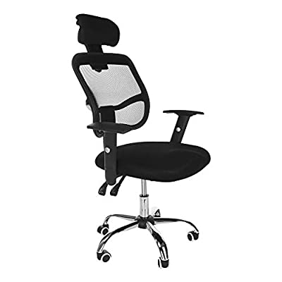 Office Chair, shamolutuo Modern Mesh Executive Breathable Mesh Chairs High Back Office Desk Chair Adjustable with S-Curve Backrest Head Pillow Ergonomic Design Network Computer Gaming Chair