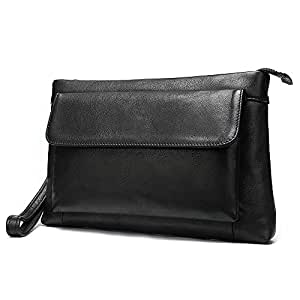 Hbssee- Men's Leather Black Clutch Bag Summer Business Simple Cross Section Casual Envelope Wallet Large Capacity (Color : Black, Size : S)