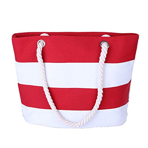 Beach Red Bag - Pulama Womens Beach Tote Canvas Shoulder Bag Wave Striped Anchor Summer Handbag Top Handle Bag Straw Beach Bag Red White Strip