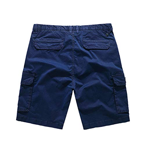 Pengy Men's Combat Pants Many Pockets Causal Trouser & Cargo Shorts Classic Relaxed Fit Short Dark Blue