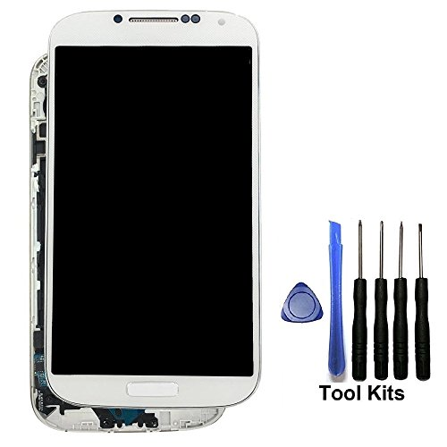 Display Touch Screen Repair Replacement with Frame for Samsung Galaxy S4 SGH- I337 (AT&T)/SGH-M919 (T-Mobile),Free Repair Tool Kits.(White+Frame)