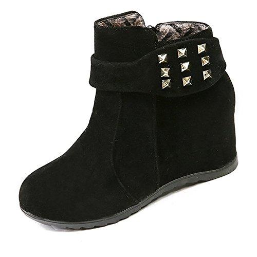 remache tacón de combatir Negro puntera alto Mid redonda Beige mujer Casual cachemir de rojo Beige botas de Calf botas invierno Botas Zapatos aBAwpp