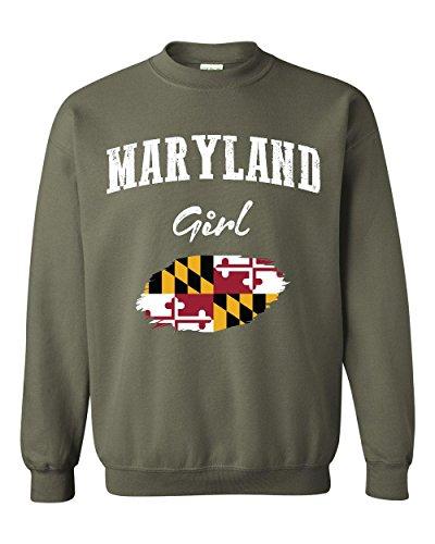 Mom's Favorite Maryland Girl Flag Traveler`s Gift Unisex Crewneck Sweater (4XLMG)